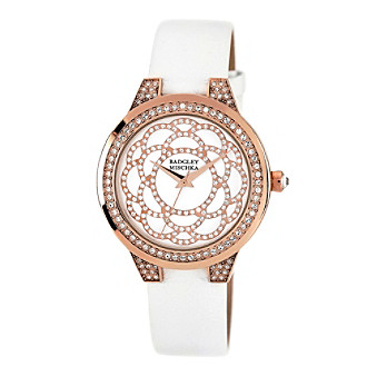 Badgley Mischka® Swarovski Crystal Accented Rose Goldtone and White Leather Strap Watch