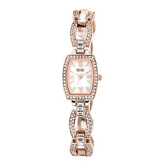Badgley Mischka® Swarovski Crystal Accented Rose Goldtone Open Link Bracelet Watch