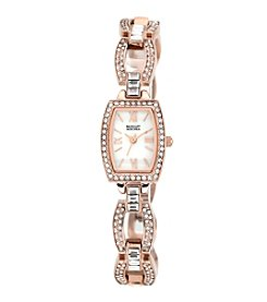Badgley Mischka® Swarovski Crystal Accented Rose Goldtone Open Link Bracelet Watch