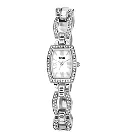 Badgley Mischka®  Swarovski Crystal Accented Silvertone Open Link Bracelet Watch