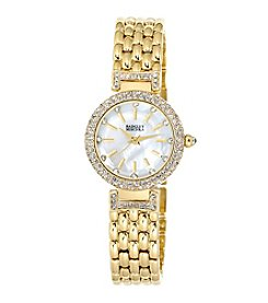 Badgley Mischka® Goldtone Round Crystal Timepiece