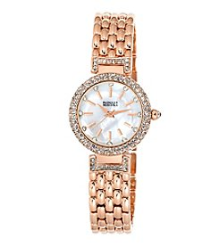 Badgley Mischka® Rose Goldtone Round Crystal Timepiece