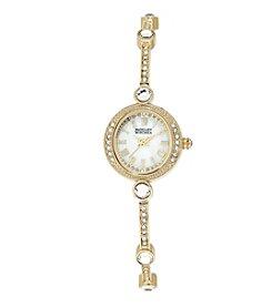 Badgley Mischka® Goldtone Elegant Crystal Timepiece