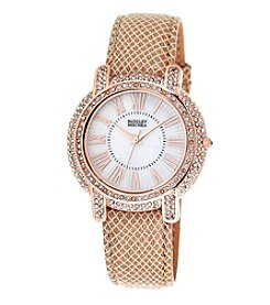 Badgley Mischka® Rose Goldtone Crystal and Leather Timepiece