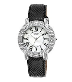 Badgley Mischka® Silvertone Crystal and Leather Timepiece