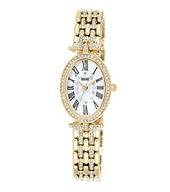 Badgley Mischka® Goldtone Oval Crystal Timepiece