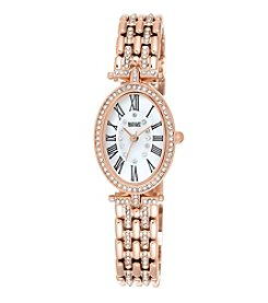 Badgley Mischka® Rose Goldtone Oval Crystal Timepiece
