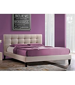 Baxton Studios Quincy Grey Linen Queen Platform Bed