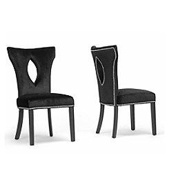 Baxton Studios DeJarnette Black Velveteen Set of 2 Dining Chairs