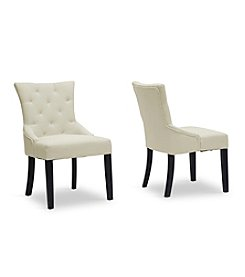 Baxton Studios Epperton Beige Linen Set of 2 Modern Dining Chairs