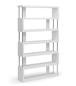Baxton Studios Barnes White Six-Shelf Modern Bookcase