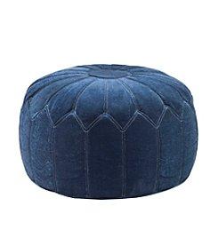 Madison Park Kelsey Blue Round Pouf Ottoman