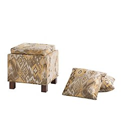 Madison Park Shelley Taupe Square Storage Ottoman with Pillows