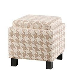 Madison Park Shelley Linen Square Storage Ottoman with Pillows