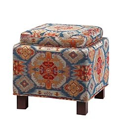 Madison Park Shelley Red Square Storage Ottoman with Pillows