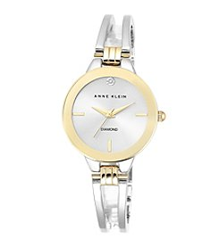 Anne Klein® Two-Tone Open Link Diamond Dial Bangle Watch