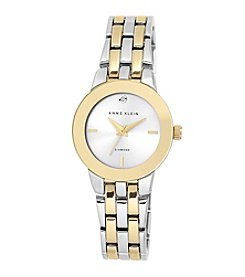Anne Klein® Two-Tone Bracelet Link Diamond Dial Watch