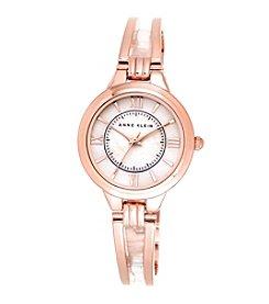 Anne Klein® Rose Goldtone Open Bangle Bracelet Watch