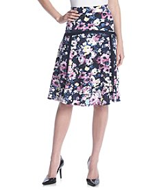 NY Collection Floral Print Skater Skirt