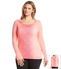 Calvin Klein Performance Plus Size Dip Dye Hooded Burnout Top