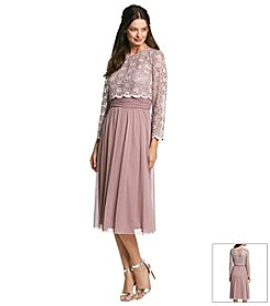 R&M Richards® Lace Chiffon Popover Dress