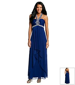 Xscape Beaded Halter Gown