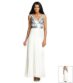Xscape Geo Print Sequin Gown
