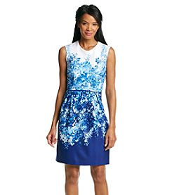 Studio One Floral A-Line Scuba Dress