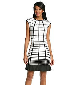 Studio One Grid Scuba Fit And Flare Dress