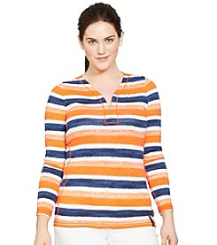 Lauren Ralph Lauren® Plus Size Striped Half-Zip Shirt