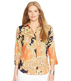 Lauren Ralph Lauren® Plus Size Cotton Crop-Sleeved Shirt