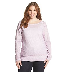 DKNY JEANS® Plus Size Eyelet Knit Top