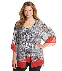 Notations® Plus Size Abstract Print Layered Look Top