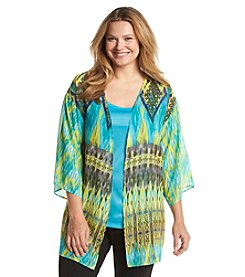 Notations® Plus Size Ikat Print Layered Look Top