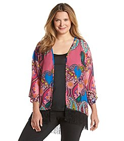 Notations® Plus Size Layered Look Paisley Print Top