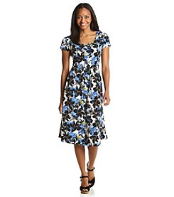 Notations® Petites' Pleated Floral Print Dress