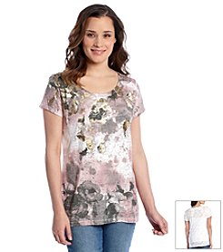 Relativity® Burnout Scoopneck Floral Graphic Tee