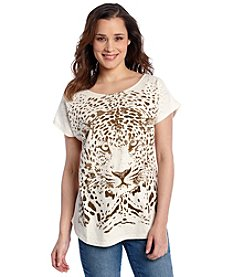 Relativity® Scoopneck Leopard Graphic Tee
