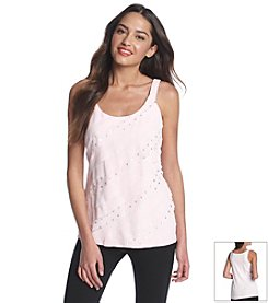 Relativity® Diagonal Foil Dot Tiered Tank Top