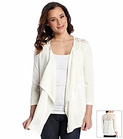 Relativity® Crochet Back Flyaway Cardigan