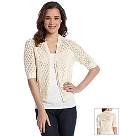 Relativity® Open Weave Crochet Sweater Shrug