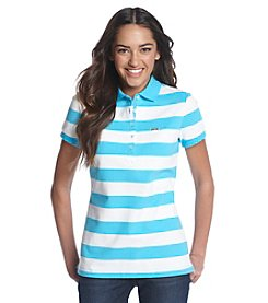 Le Tigre Wide Stripe Pique Short Sleeve Polo