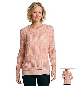 Alfred Dunner® Romancing The Stone Solid Layered Look Sweater