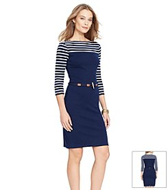 Lauren Ralph Lauren® Striped Cotton Boatneck Dress