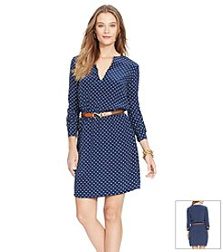 Lauren Ralph Lauren® Polka-Dot Split-Neck Dress