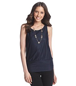 AGB® Sleeveless Top With Necklace
