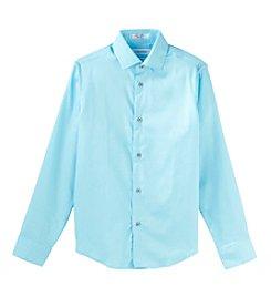 Calvin Klein Boys' 4-20 Long Sleeve Sateen Shirt