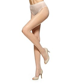 HUE® Toeless Sheer Lace Control Top Hosiery