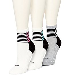HUE® 3 Pack Air Cushion Mini Crew Socks