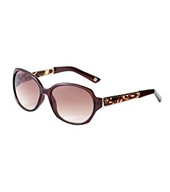 Nine West® Plastic Oval Acetate Temple Sunglasses